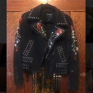 True Religion Denim Studded Rose Jacket
